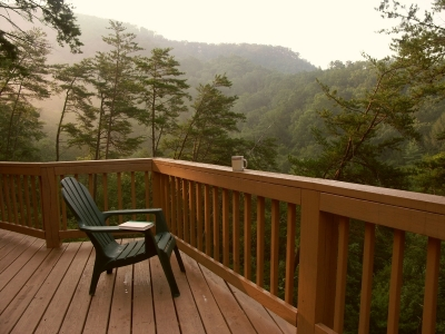 Deck overlooking mountains